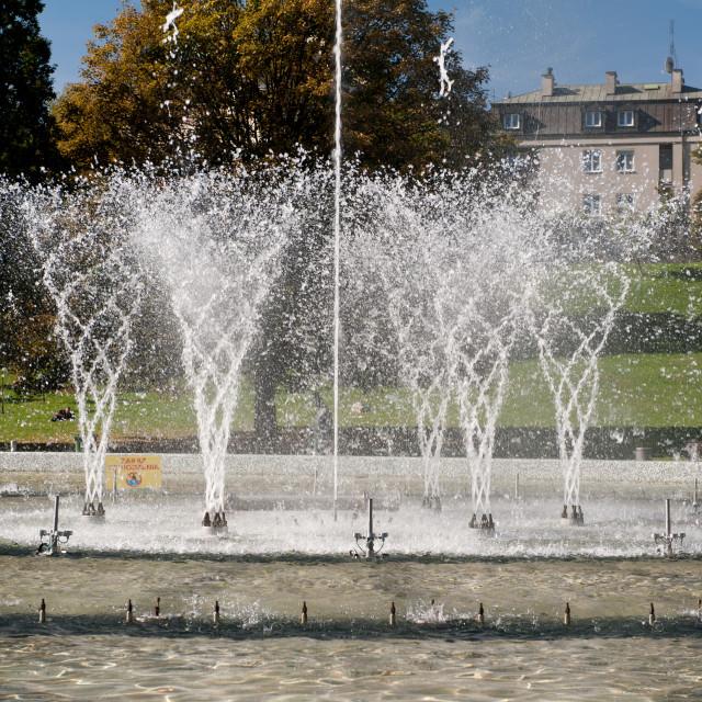 """Water splashing in fountain"" stock image"