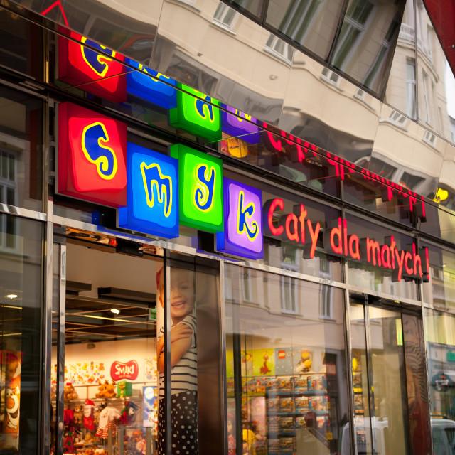 """""""Glowing signboard of Smyk"""" stock image"""
