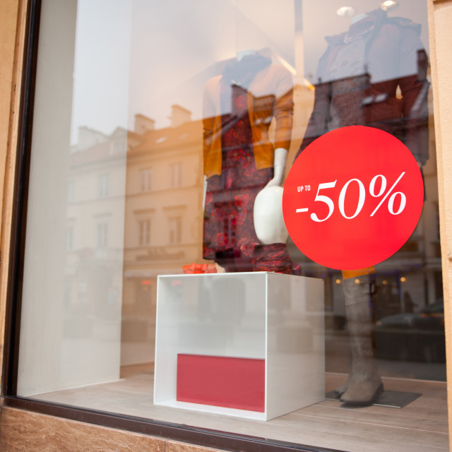 """""""Fifty percent sale red signboard"""" stock image"""