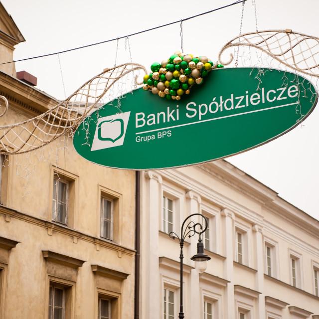 """Cooperative banks signboard hanging"" stock image"