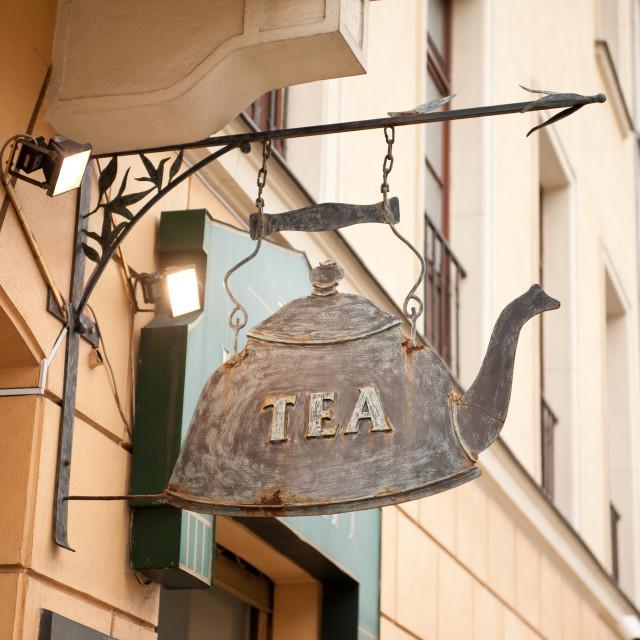 """Iron fake kettle tea signboard"" stock image"