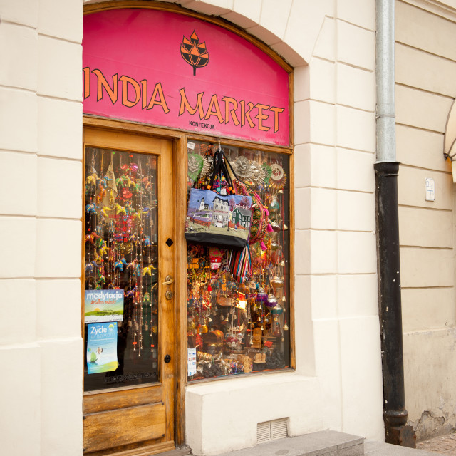 """Window exposure of little India Market"" stock image"