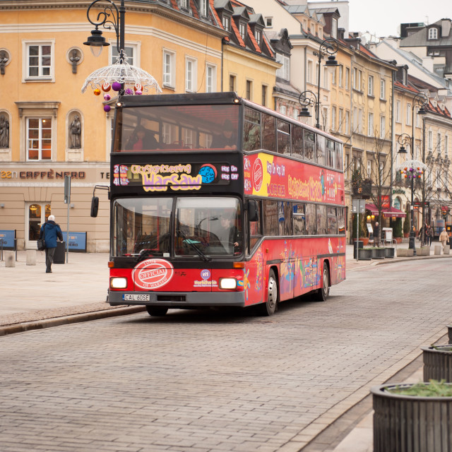 """""""Double decker bus with two storeys"""" stock image"""