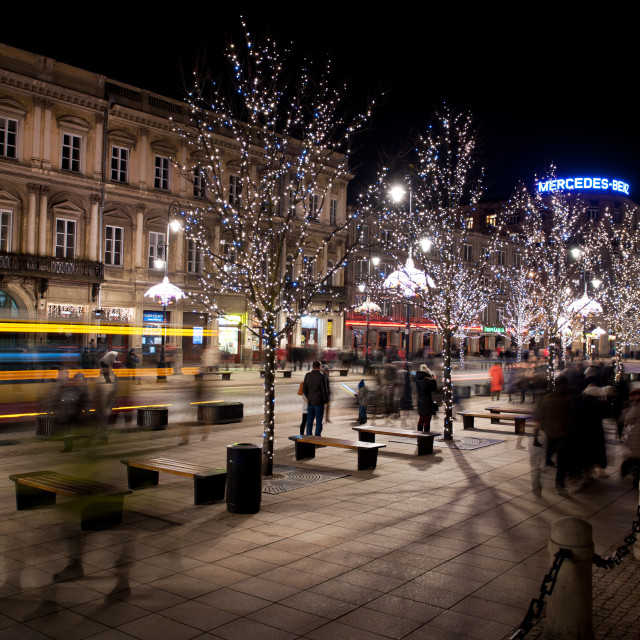 """""""Christmas lights on trees in Warsaw"""" stock image"""