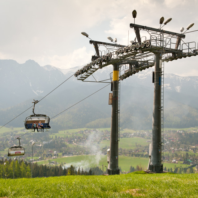 """Ropeway high chairlift tourist attraction"" stock image"