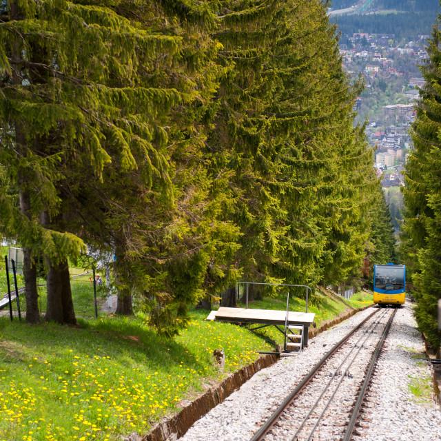 """Gubalowka Hill Funicular carriage going up"" stock image"