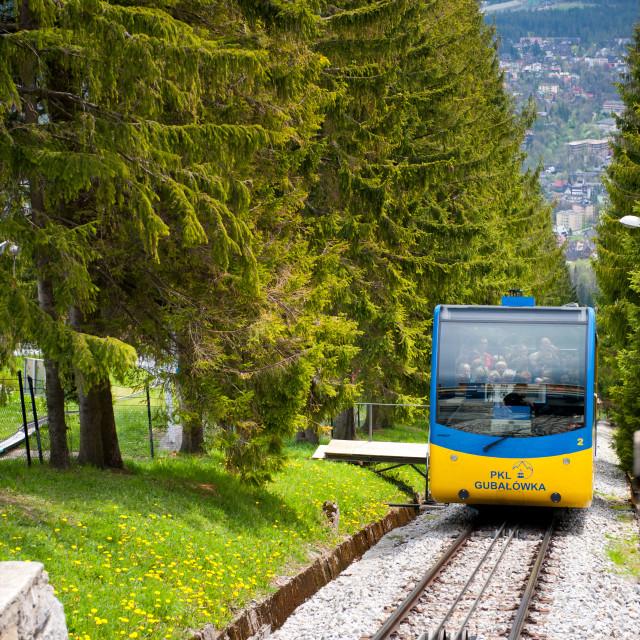 """Entering Gubalowka Hill Funicular carriage"" stock image"