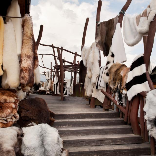 """""""sheep furs at Gubalowka market in Zakopane"""" stock image"""