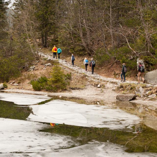 """""""Tourists trakking at Morskie Oko Lake"""" stock image"""