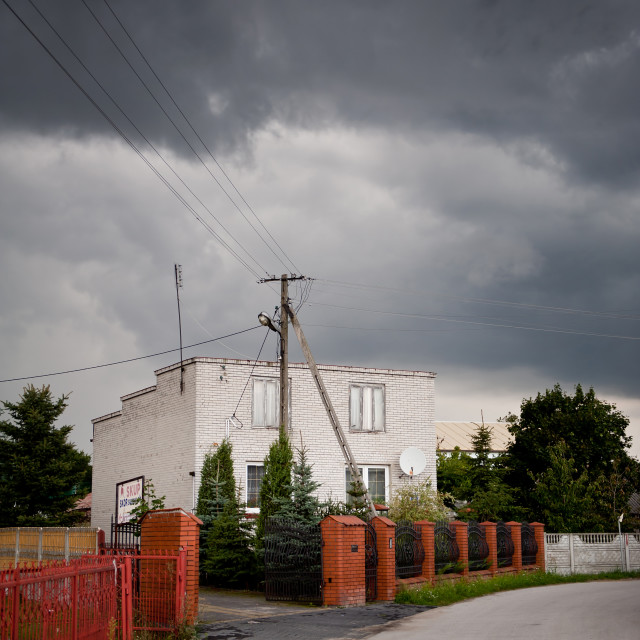 """Gloomy stormy dark sky"" stock image"