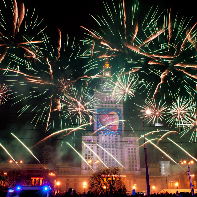 """""""Green fireworks at 22nd GOCC Final day"""" stock image"""