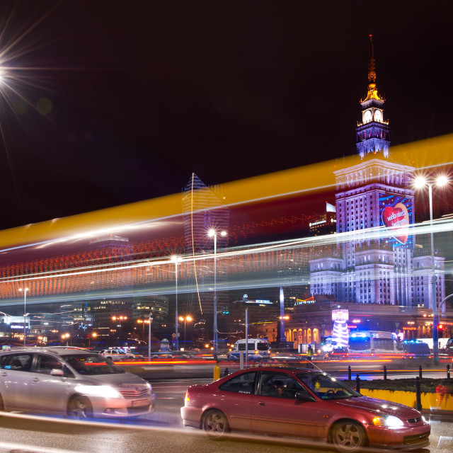 """Warsaw city traffic at night GOCC"" stock image"