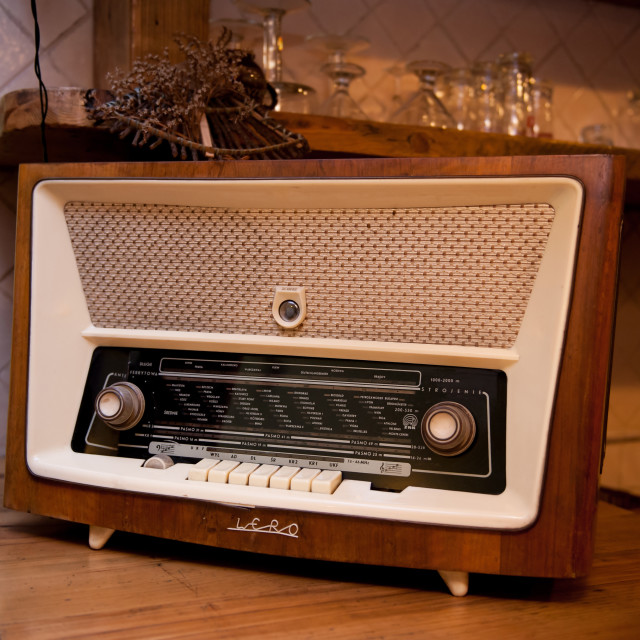 """Old retro wooden radio device on shelf"" stock image"