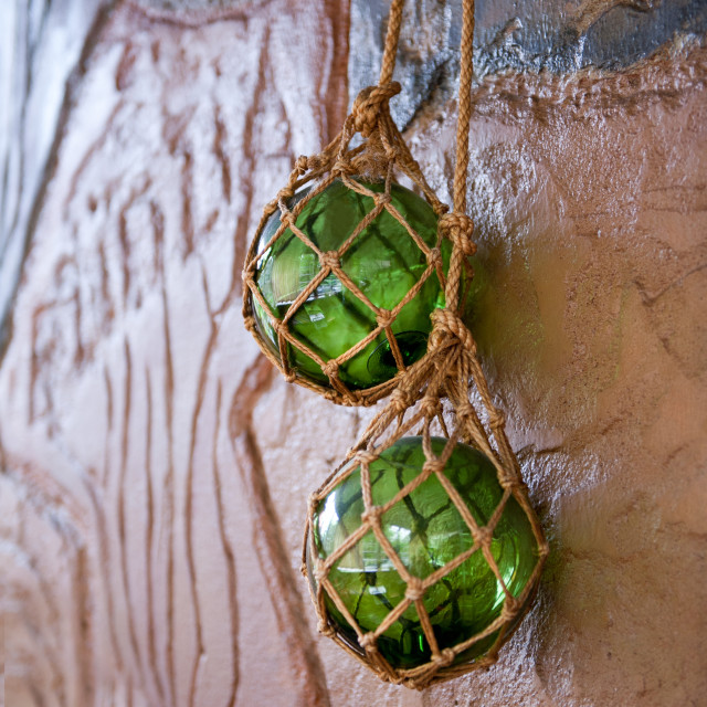 """""""Two green glass balls hanging"""" stock image"""