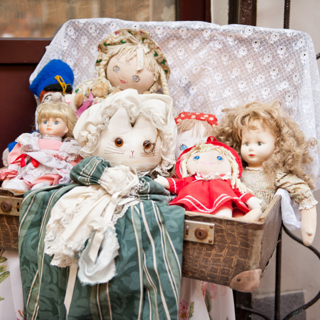 """Retro rag dolls toys collection"" stock image"