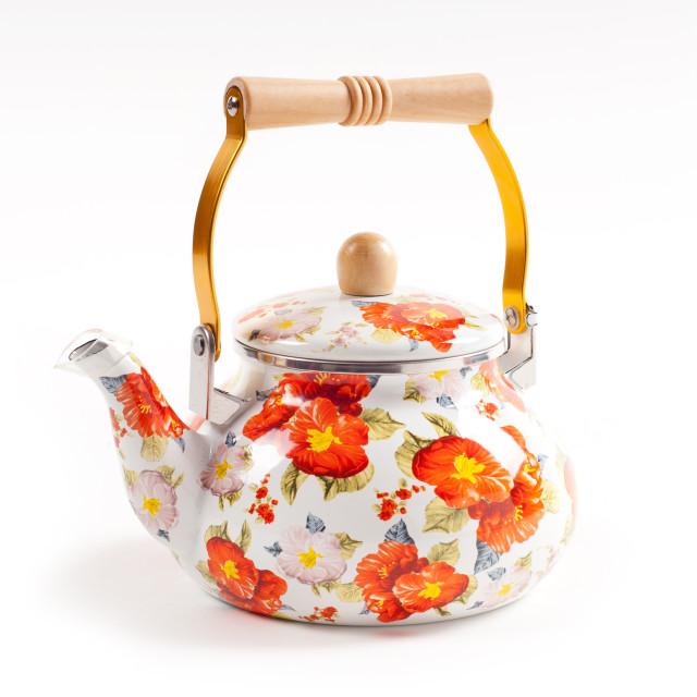 """Floral ornate enamel kettle"" stock image"