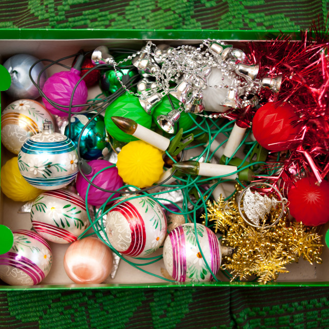 """""""Glass balls decorations in carton"""" stock image"""