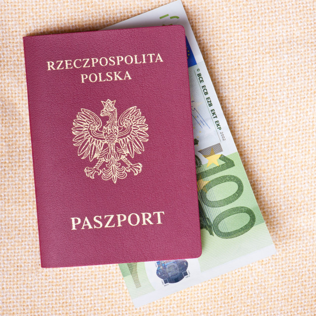 """Euro banknote in red passport"" stock image"
