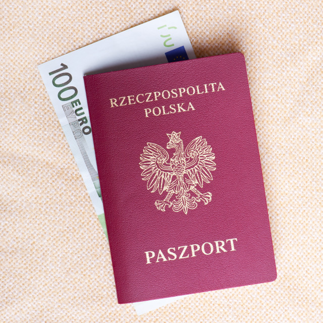 """Red Polish passport and one hundred"" stock image"