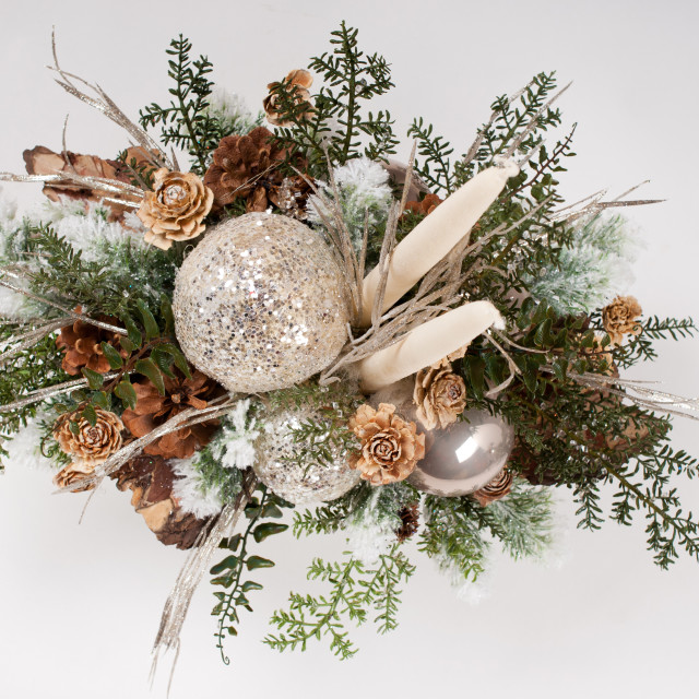 """""""Silver glitter Christmas composition"""" stock image"""
