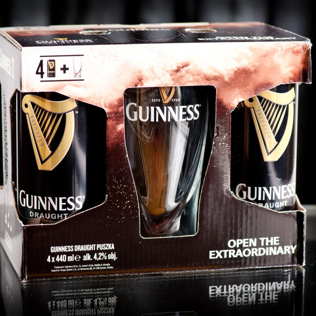 """Four pack of Guinness draught beer"" stock image"
