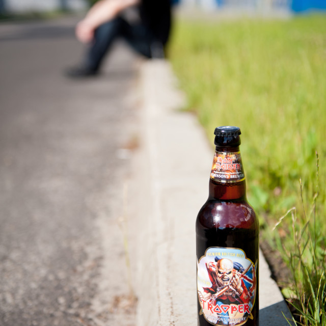 """Iron Maiden beer full bottle"" stock image"