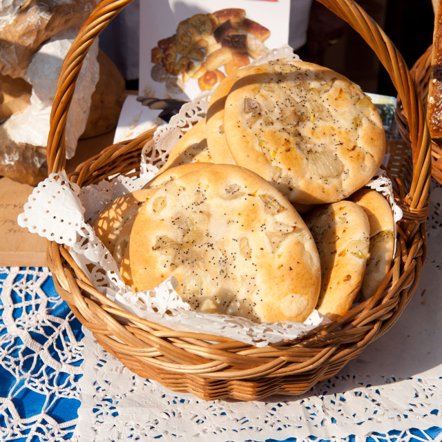 """Presentation of cebularz onion rolls"" stock image"