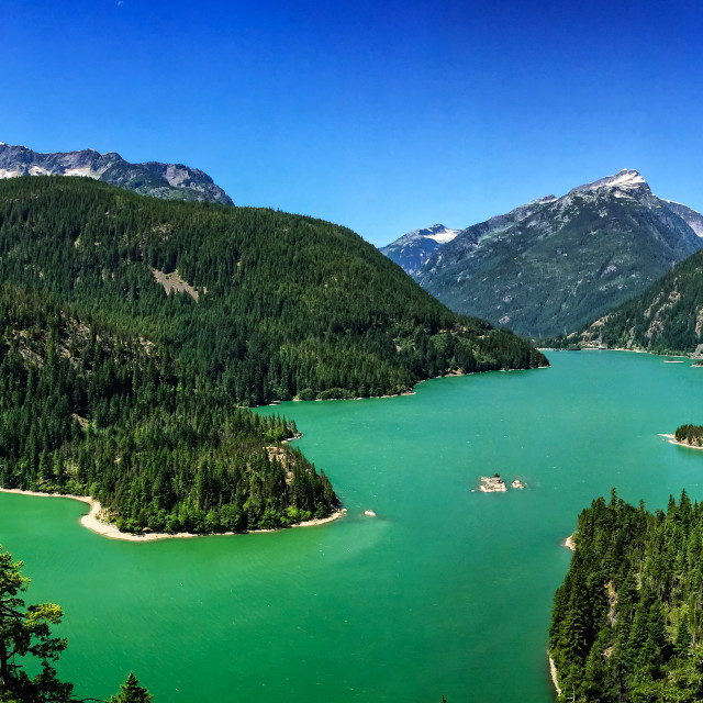 """Diablo Lake Overlook Panorama"" stock image"