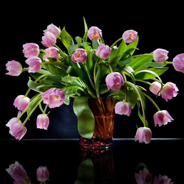 """""""Pink tulips bouquet in glass vase"""" stock image"""