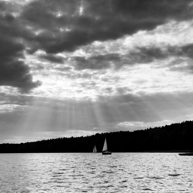 """Black and white lake view"" stock image"