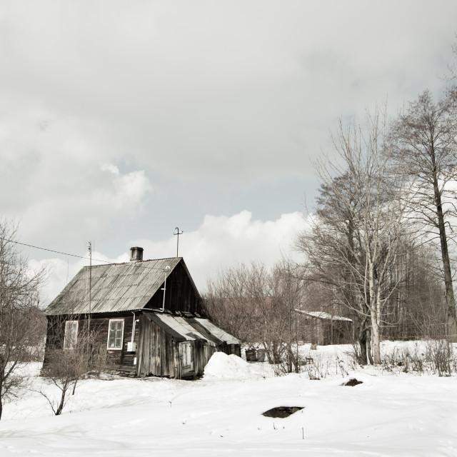 """Abandoned dilapidated wooden house"" stock image"