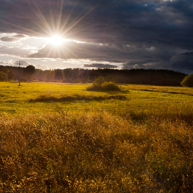 """""""Awesome sunset above meadow"""" stock image"""