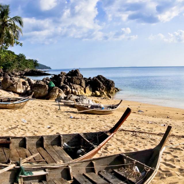 """""""Thai Long-tail boats at Kantiang Bay"""" stock image"""