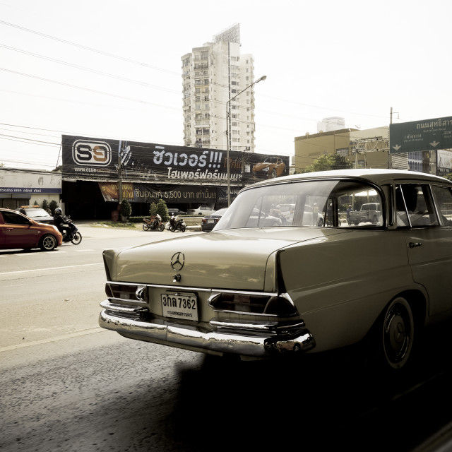 """Vintage mercedes in Thai traffic"" stock image"