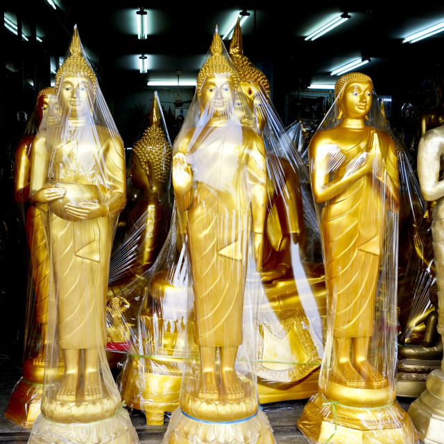 """Buddha golden statues"" stock image"