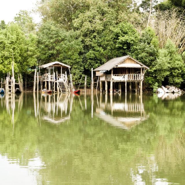 """River houses on stilts"" stock image"