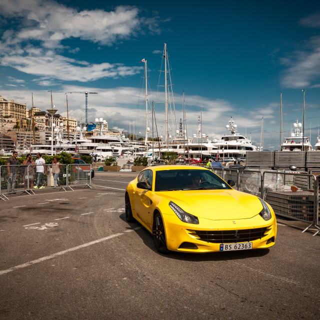 """Ferrari Berlinetta on Monaco Race track."" stock image"