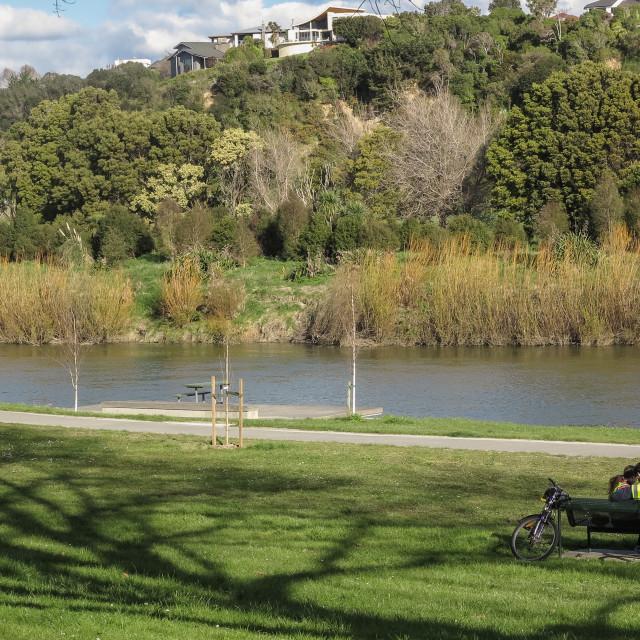 """Manawatu river pathway, New Zealand."" stock image"