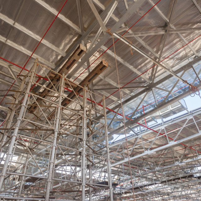 """Building Construction Inside Steel Framework"" stock image"