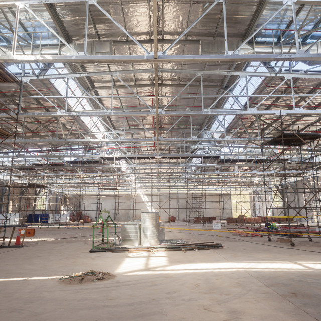 """Construction Building Inside Steel Framework"" stock image"