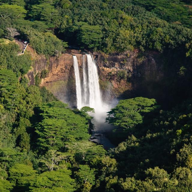"""""""Aerial view of Wailua Falls in Kauai"""" stock image"""