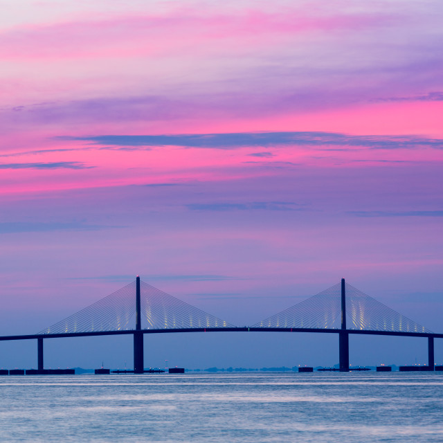 """Sunshine Skyway Bridge at dawn"" stock image"