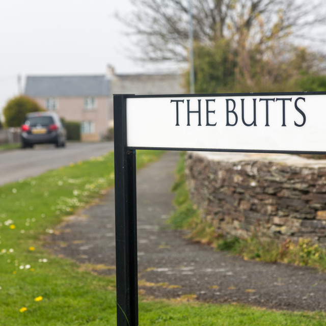 """""""Funny road or street sign The Butts in Cornwall"""" stock image"""