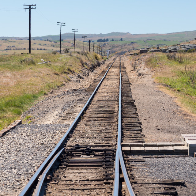 """Railway track up Taieri Gorge New Zealand"" stock image"