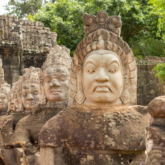 """Demons line entrance to south gate angkor thom"" stock image"