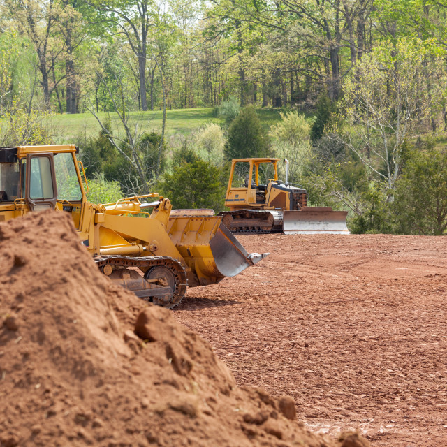 """""""Large earth mover digger clearing land"""" stock image"""