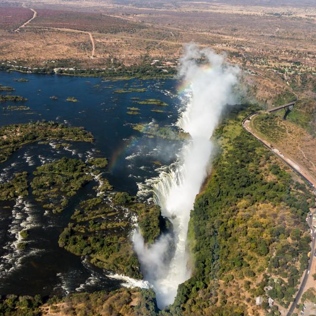 """Victoria Falls on Zambezi River"" stock image"
