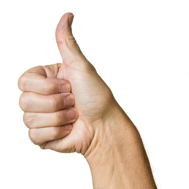 """Senior caucasian hands thumbs up gesture"" stock image"