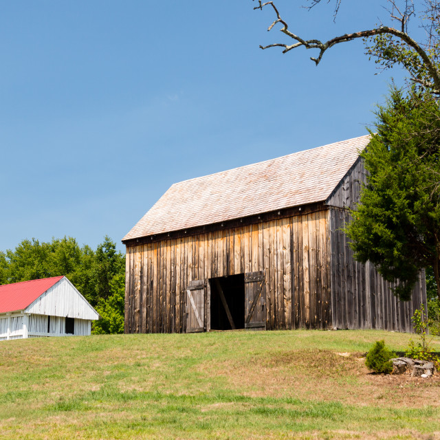 """Barns at Thomas Stone house in Maryland"" stock image"