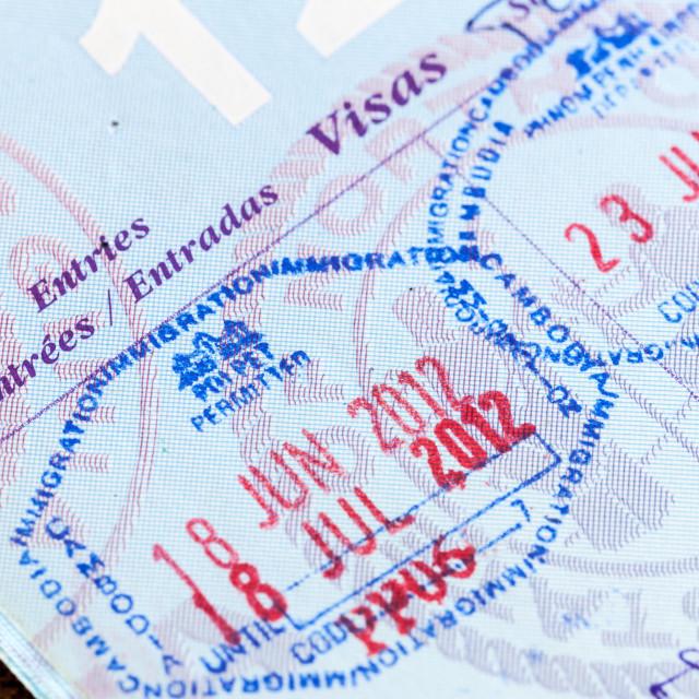 """""""Visa stamps in US passport Thailand Cambodia"""" stock image"""